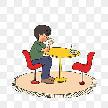 Cafe Dinette Hand Drawing Clipart Chair Stool PNG Image And