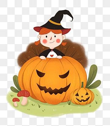 Halloween pumpkin, Witch, Pumpkin Face, Halloween Theme PNG Image