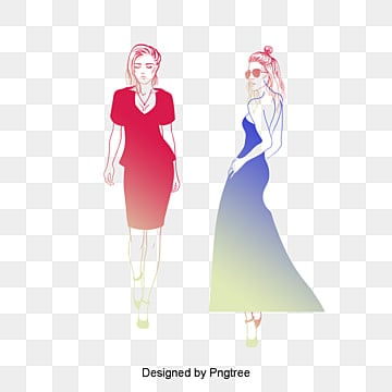 Female Fashion Illustrator Vector Material Trend Figures Cartoon Anime Girl PNG And PSD