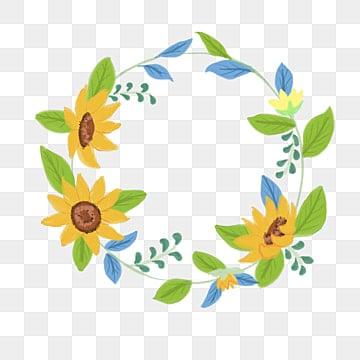 sunflower border curve decorative foliage sunflower frame curve png image - Sunflower Picture Frames