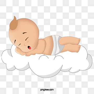 Baby sleeping on the clouds