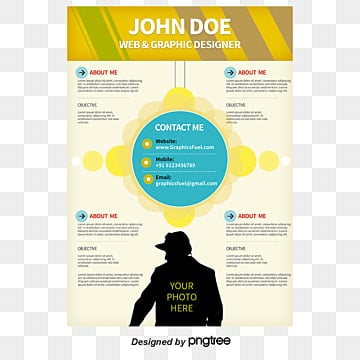 Yellow Blue CV, English, Translation, Resume PNG and PSD