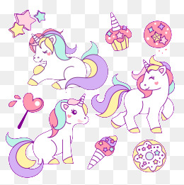 Lovely Unicorn, Cartoon Animals, Dream, Color PNG Image