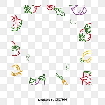 fruits and vegetables vector cartoon line drawing border, Cartoon, Fruit, Vegetables PNG and Vector illustration image