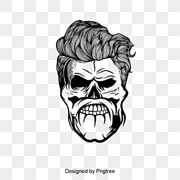 Vector Hair Handsome Skull Bone Material PNG And PSD