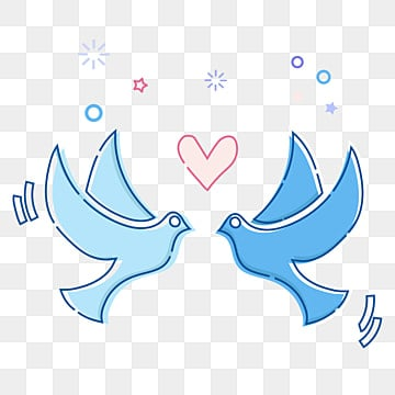 Love Birds, Birds, Birds, Hand Painted PNG Image