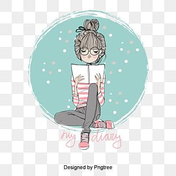 Vector chica leyendo, Personaje, Personajes De Dibujos Animados, Carácter Vectorial PNG y Vector