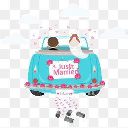 Vector cartoon wedding car