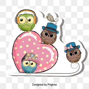 Vector corazones de color rosa y buhos, Pink Heart, Owl, Cartoon Owl  PNG y Vector