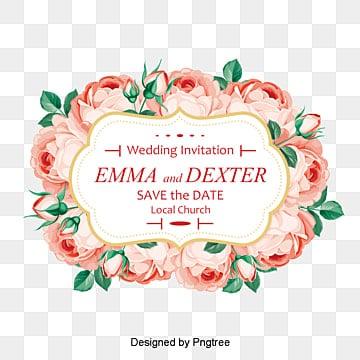 الورد جميل تصميم الدعوة, وارتفعت دعوات الزفاف, بطاقات زفاف, بطاقات زفاف PNG و PSD
