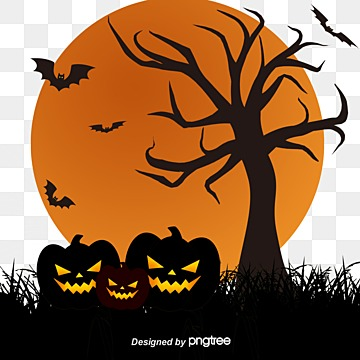 vector background halloween pumpkin and tree, Background Clipart, Tree Clipart, Pumpkin PNG and Vector