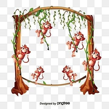 vector monkey border vector monkey border trees monkey png and vector - Monkey Picture Frame