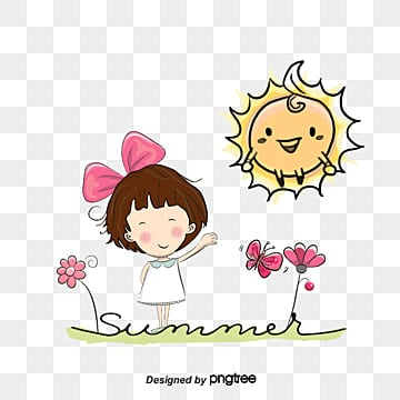 Vector Sun and girl, Girl, Character, Cartoon Characters PNG and Vector