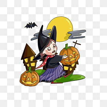 Halloween cartoon witch, Black, Orange, Witch PNG Image