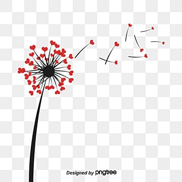 Heart Shaped Flying Dandelion, Dispersión, Diente De Leon, Corazon En Forma De árbol  PNG y Vector
