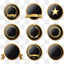 Vector painted black and gold circular icon, Vector, Hand Painted, Icon PNG and Vector
