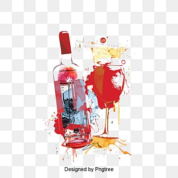 Watercolor wine glass and bottle Pino, Decoration, Vector, Watercolor PNG and Vector