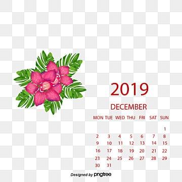calendar, 2017, December, Red PNG and PSD