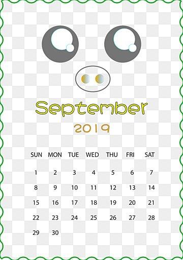 calendar, 2017, September, Yellow PNG and PSD