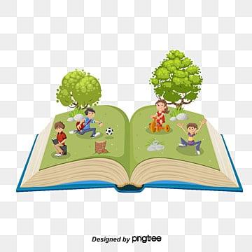 vector tree with cartoon children's booksLos  Niños  De PNG Y Vector