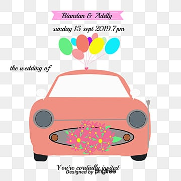 Cartoon wedding car
