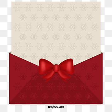Christmas card, Red Envelopes, Ribbon Bow, Curled Paper PNG and PSD