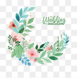 Decorative wreath, Wedding Invitations, Decorative Elements, Watercolor PNG and Vector