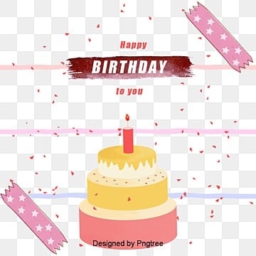 Hand drawn birthday card, Multi-layer Birthday Cake, Pink Birthday Cake, Star Candle PNG and Vector
