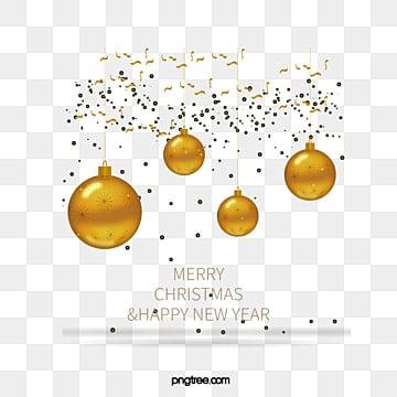 Bola de Navidad festiva, Golden Christmas Ball, Golden Ribbon, Efecto De Luz De Oro PNG y Vector