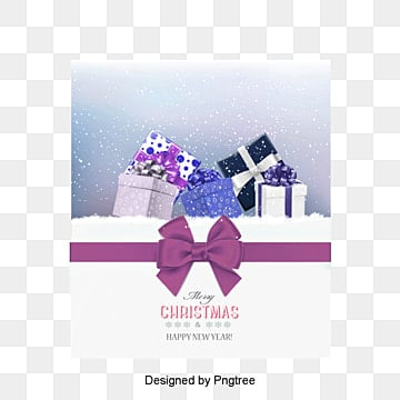 Beautiful purple gift box Christmas card vector, Purple Gift, Christmas Card, Christmas PNG and Vector