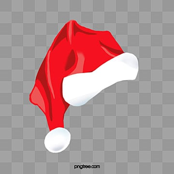 Santa Claus hat, Christmas, Hand Painted, Red White Hat PNG and PSD
