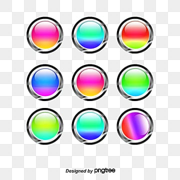 Colored button icons, Gradient, Blue, Green PNG and PSD