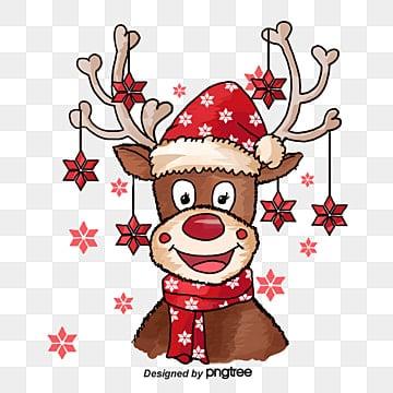 Christmas deer, Elk, Red Bell, Hand-painted Elk PNG Image