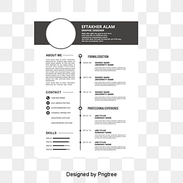 Black header resume templates,  PNG and PSD