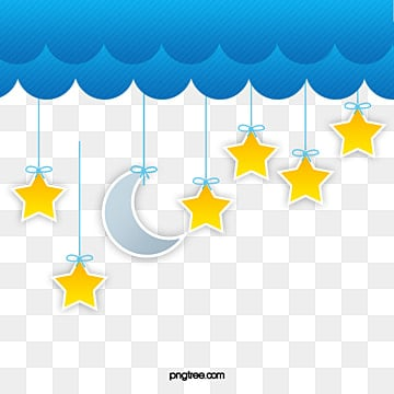 Blue clouds moon and stars, Star, Star, Moon PNG and Vector