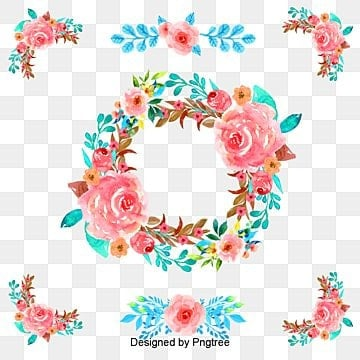 Hand-painted watercolor flower garland border, Red Flowers, Christmas Wreath, Hand Painted PNG and Vector