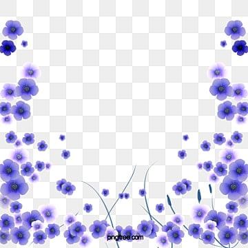 Beautiful Plain Blue Flowers Border Element Simple PNG And PSD
