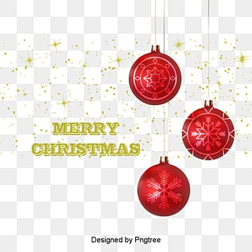 Red Christmas ball ornaments, Golden Light Effect Background, Golden, Red Christmas Ball PNG and Vector