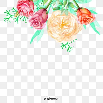 Hand-painted watercolor flower decorative frame, Hand-painted Flowers, Watercolor Flowers, Flower Decoration PNG and PSD