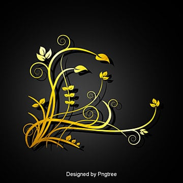 gold floral vector png