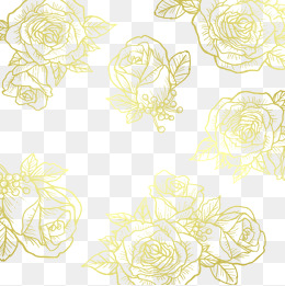 Vector Golden Flower, Gold Background, Flower, Rose PNG and Vector