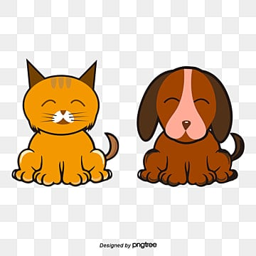 hand painted cartoon couple cute cats and dogs, Cartoon Animals, Painted Cat, Cute Dog PNG and Vector