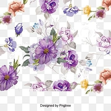 Purple watercolor flowers vector material, Hand Painted, Creative Pattern, Vector Material PNG and Vector
