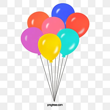 Color Cartoon Happy Birthday Balloon Clipart Hand Painted
