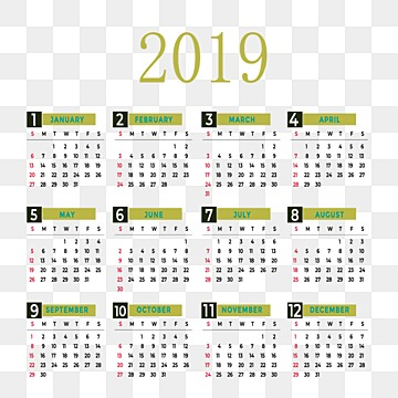 calendar, Years, Vector, Simple PNG and PSD
