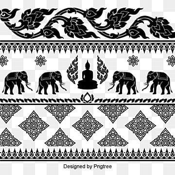 Vintage elefante tailandês padrão vetor material, Retro, Flores, MolduraPNG e Vector