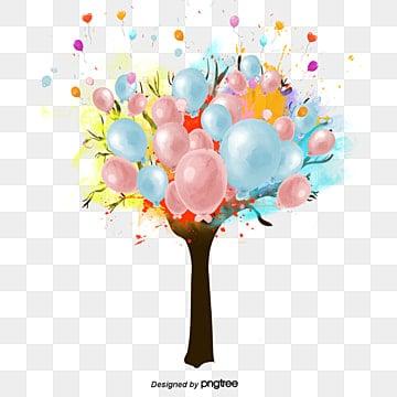 Cartoon tree watercolor balloon