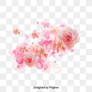 Watercolor flowers shading, Pink Flowers, Watercolor, -painted Material PNG and PSD