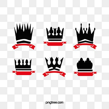 Crown and ribbon logo, Crown Material, Black, Red PNG and PSD