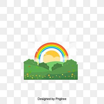 Vector spring landscape plan, Rainbow, Meadow, Sun PNG and Vector